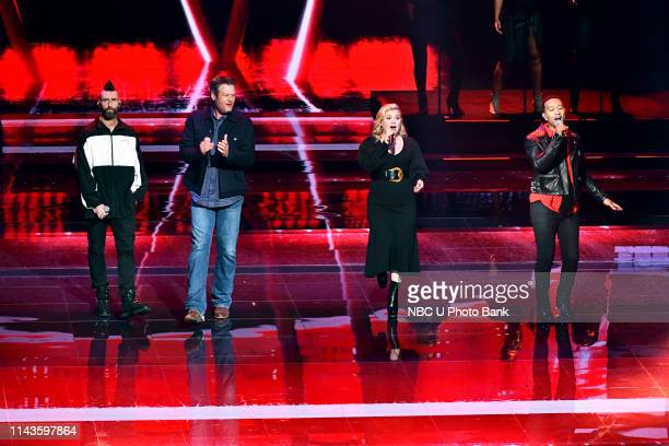 NBCUniversal Upfront in New York City on Monday May 13 2019 Pictured Adam Levine Blake Shelton Kelly Clarkson and John Legend The Voice on NBC
