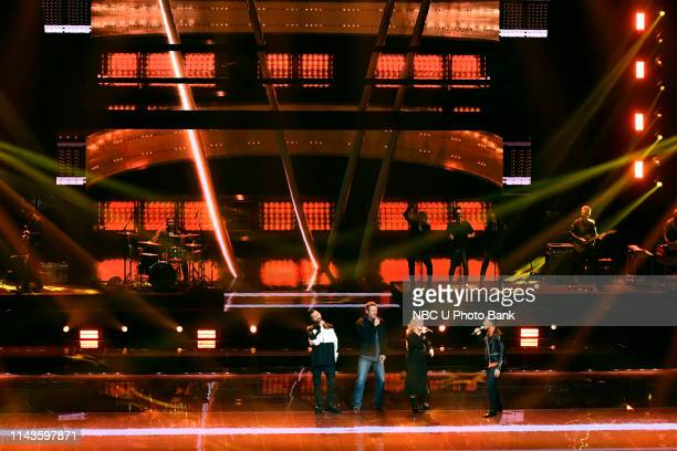 """NBCUniversal Upfront in New York City on Monday, May 13, 2019 -- Pictured: Adam Levine, Blake Shelton, Kelly Clarkson, and John Legend, """"The Voice""""..."""