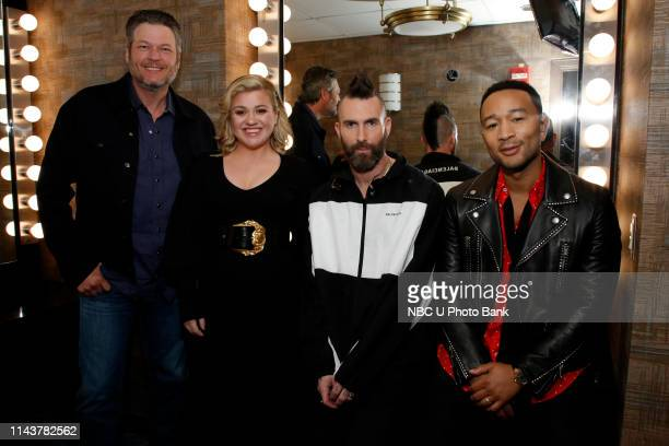 NBCUniversal Upfront in New York City on Monday May 13 2019 Pictured Blake Shelton Kelly Clarkson Adam Levine John Legend The Voice on NBC