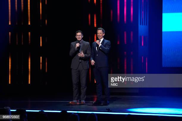 NBCUniversal Upfront in New York City on Monday May 14 2018 Pictured Andy Samberg 'Brooklyn NineNine' on NBC Seth Meyers 'Late Night with Seth...