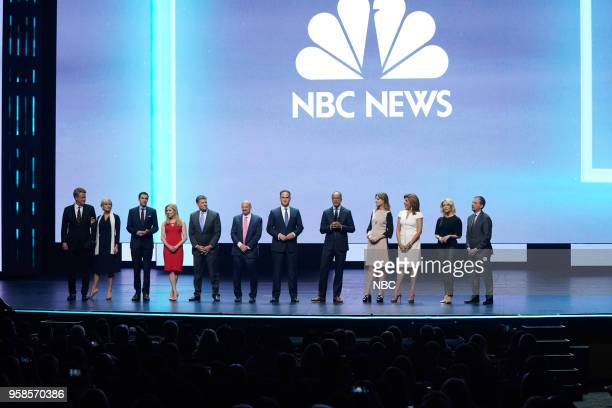 NBCUniversal Upfront in New York City on Monday May 14 2018 Pictured Joe Scarborough Mika Brzezinski 'Morning Joe' on MSNBC Andrew Ross Sorkin Becky...