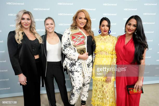 NBCUniversal Upfront in New York City on Monday May 14 2018 Red Carpet Pictured Charlotte Flair Ronda Rousey Nia Jax WWE on USA Network Brie Bella...