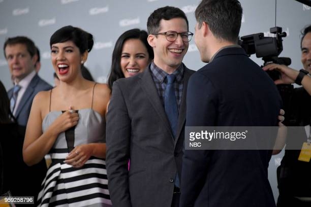 NBCUniversal Upfront in New York City on Monday May 14 2018 Red Carpet Pictured Andy Samberg 'Brooklyn NineNine' on NBC Colin Jost 'Saturday Night...