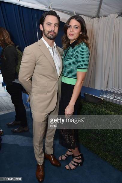 """NBCUniversal Upfront in New York City on Monday, May 15, 2017 -- Red Carpet -- Pictured: Milo Ventimiglia, Mandy Moore, """"This is US"""" on NBC. --"""