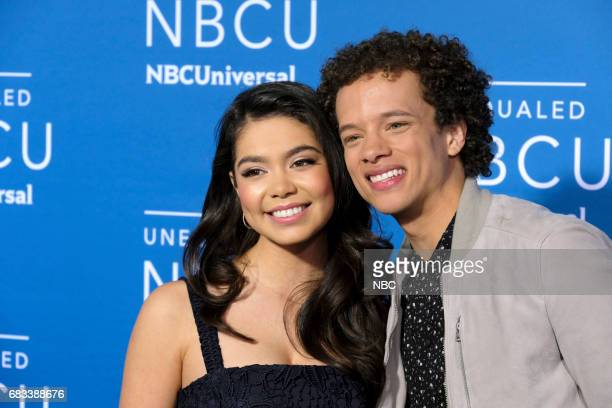 NBCUniversal Upfront in New York City on Monday May 15 2017 Red Carpet Pictured Auli'i Carvalho Damon J Gillespie Rise on NBC