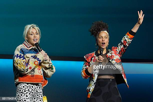 UPFRONT 2016 NBCUniversal Upfront in New York City on Monday May 16 2016 Pictured Miley Cyrus Alicia Keys The Voice on NBC