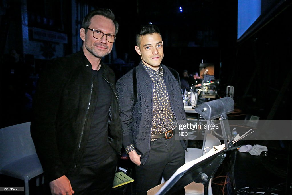 UPFRONT -- '2016 NBCUniversal Upfront in New York City on Monday, May 16, 2016' -- Pictured: (l-r) Christian Slater, Rami Malek, ?Mr. Robot? on USA Network --