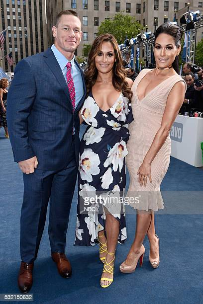 UPFRONT 2016 NBCUniversal Upfront in New York City on Monday May 16 2016 Pictured John Cena WWE on USA Network Nikki Bella Brie Bella Total Divas on...