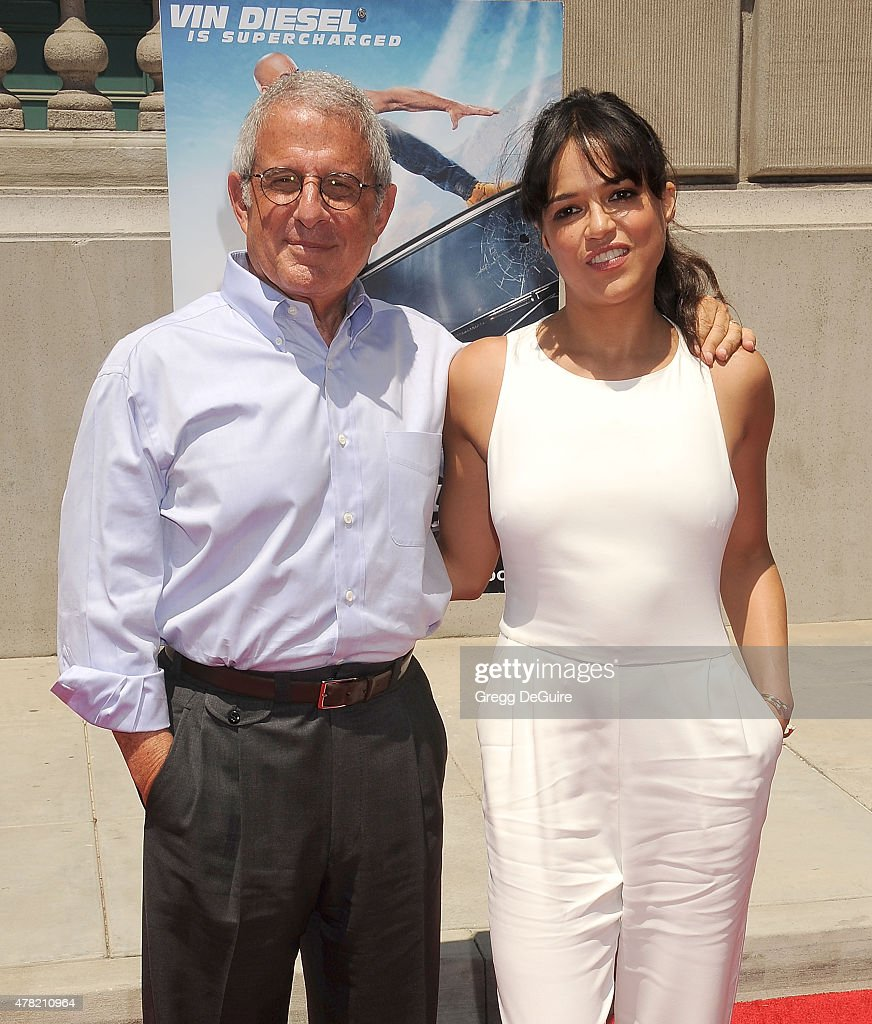 NBCUniversal Vice Chairman Ron Meyer and actress Michelle Rodriguez arrive at the premiere of the 'Fast & Furious - Supercharged' Ride at Universal Studios Hollywood on June 23, 2015 in Universal City, California.