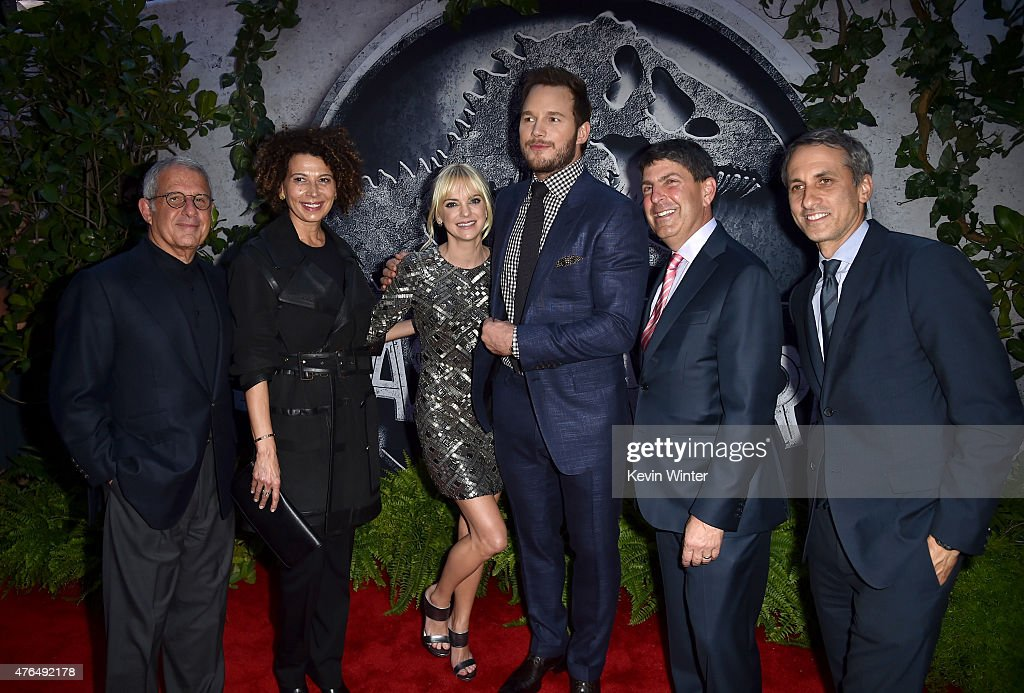 NBCUniversal Vice Chairman Ron Meyer, Universal Pictures Chairman Donna Langley, actors Anna Faris, Chris Pratt, Filmed Ent. Group Chairman Jeff Shell and Universal Pictures Production Co-President Peter Cramer attend the Universal Pictures' 'Jurassic World' premiere at the Dolby Theatre on June 9, 2015 in Hollywood, California.