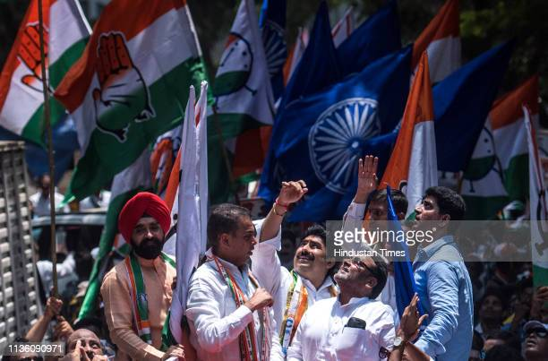 Congress candidate Sanjay Patil accompanied by Mumbai Congress chief Milind Deora and others as he heads to file his nomination from Mumbai NorthEast...