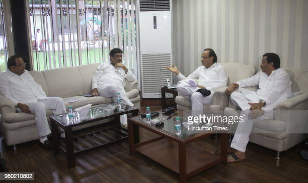 Congress opposition leaders meet before the Monsoon Session meeting at Radhakrishna Vikhe Patil's bungalow in presence of Ashok Chavan Vikhe Patil...
