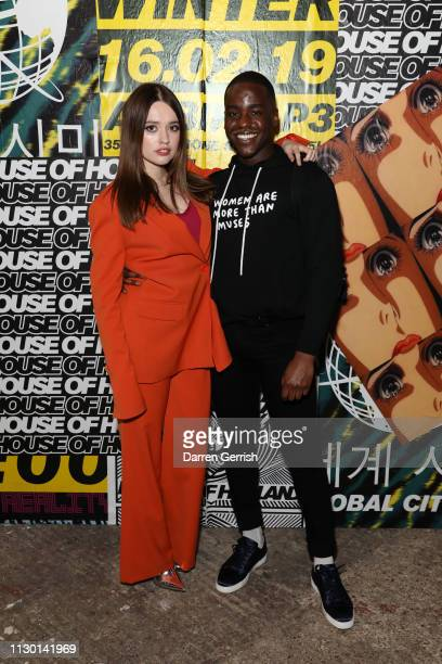 Ncuti Gatwa and Aimee Lou Wood attend the House of Holland show during London Fashion Week February 2019 at the University of Westminster on February...