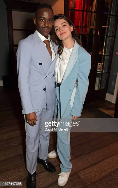 Ncuti Gatwa and Emma Mackey attend the dunhill Dylan Jones PreBAFTA party at dunhill Bourdon House on January 29 2020 in London England