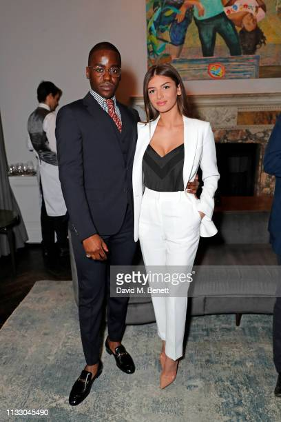 Ncuti Gatwa and Mimi Keene attend a private dinner hosted by Louis XIII with cellar master Baptiste Loiseau at The Arts Club on March 26, 2019 in...