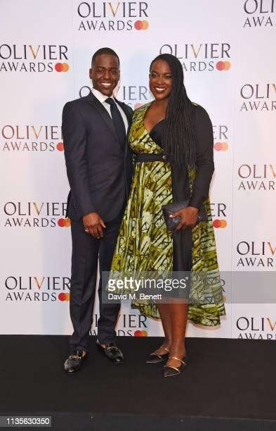 Ncuti Gatwa and Wunmi Mosaku pose in the press room at The Olivier Awards 2019 with Mastercard at The Royal Albert Hall on April 7 2019 in London...