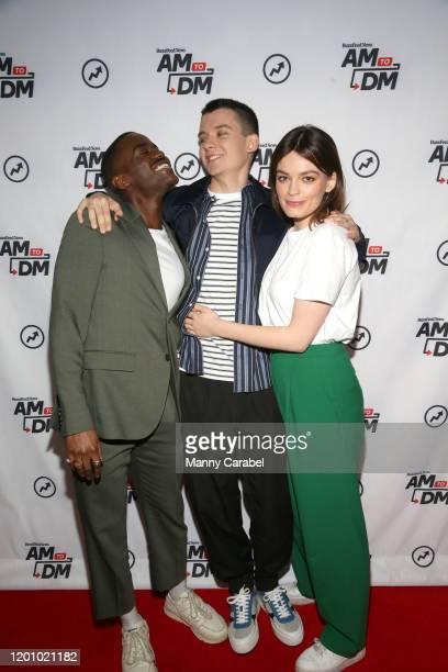 Ncuti Gatwa Asa Butterfield and Emma Mackey visit BuzzFeed's AM To DM on January 21 2020 in New York City