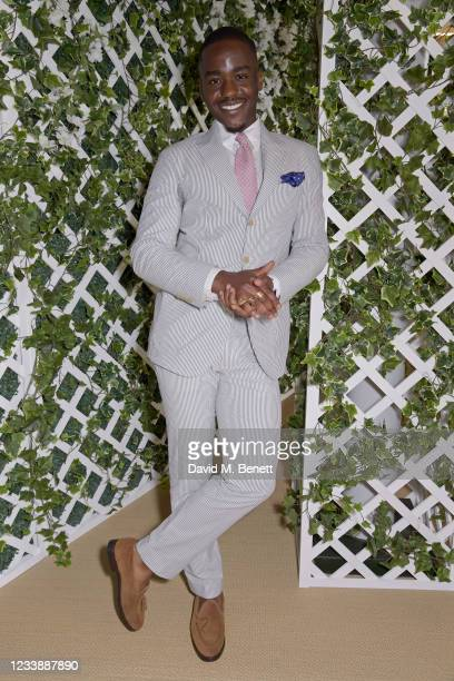 Ncuti Gatwa attends the Polo Ralph Lauren VIP suite during Wimbledon at All England Lawn Tennis and Croquet Club on July 9, 2021 in London, England.