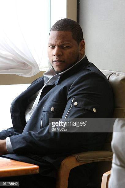 Ndamukong Suh from the University of Nebraska winner of the Chuck Bednarik Award for College Defensive Player of the Year attends the Press for the...