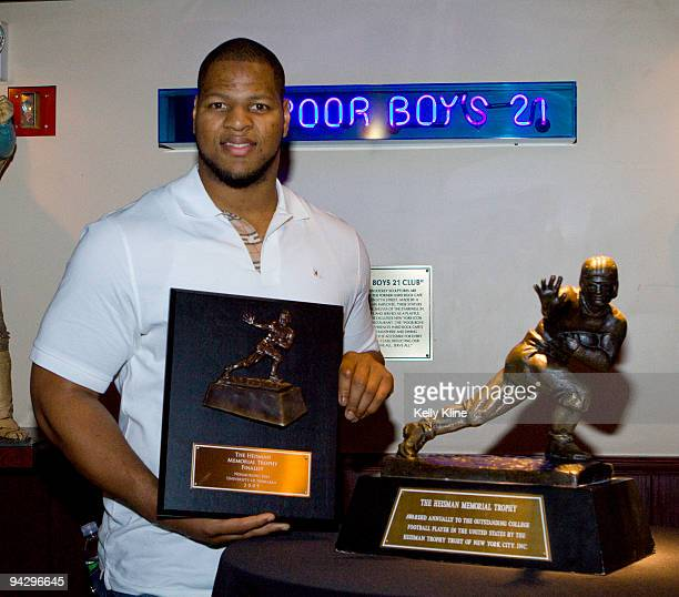 Ndamukong Suh Heisman Trophy finalists receives a finalist plaque at a private reception on December 11 2009 in New York City
