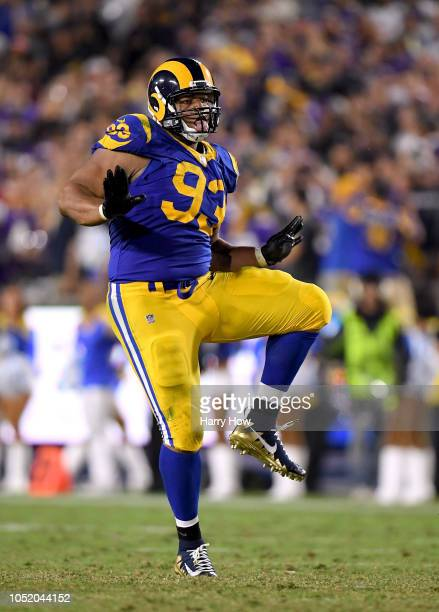 Ndamukong Suh of the Los Angeles Rams celebrates his sack during the fourth quarter in a 3831 win over the Minnesota Vikings at Los Angeles Memorial...