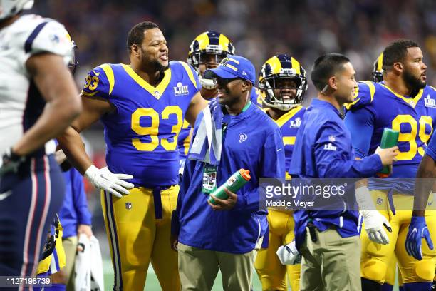 Ndamukong Suh of the Los Angeles Rams reacts against the New England Patriots in the first quarter during Super Bowl LIII at MercedesBenz Stadium on...