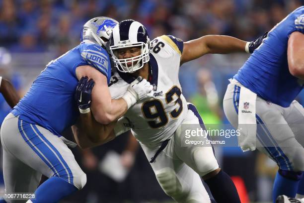 Ndamukong Suh of the Los Angeles Rams rushes against the Detroit Lions during the first half at Ford Field on December 2 2018 in Detroit Michigan