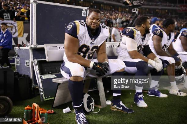 Ndamukong Suh of the Los Angeles Rams sits on the bench during their game against the Oakland Raiders at OaklandAlameda County Coliseum on September...