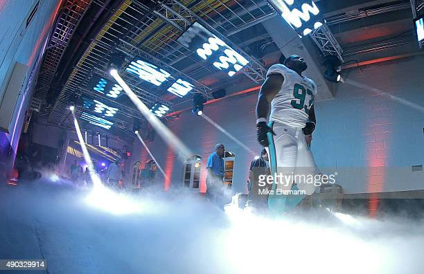Ndamukong Suh of the Miami Dolphins takes the field during a game against the Buffalo Bills at Sun Life Stadium on September 27 2015 in Miami Gardens...