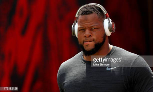 Ndamukong Suh of the Tampa Bay Buccaneers takes the field during a game against the San Francisco 49ers at Raymond James Stadium on September 08 2019...