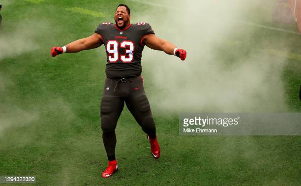 Ndamukong Suh of the Tampa Bay Buccaneers takes the field during a game against the Atlanta Falcons at Raymond James Stadium on January 03, 2021 in...