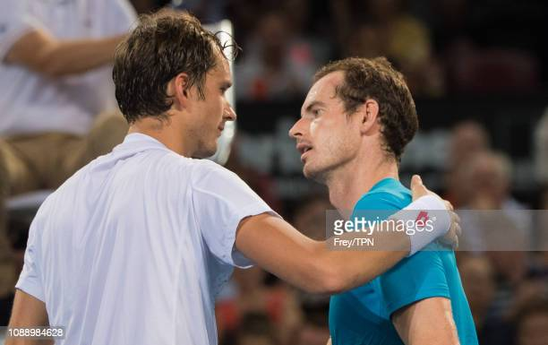 nDaniil Medvedev of Russia is congratulated by Andy Murray of Great Britain after beating him during day four of the 2019 Brisbane International at...