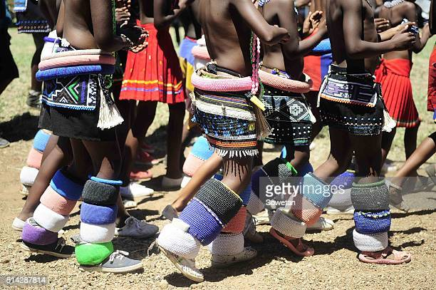 Ndebele girls in their traditional attire during the 36th annual commemoration of King Silamba on March 05 2016 in Pretoria South Africa King Silamba...
