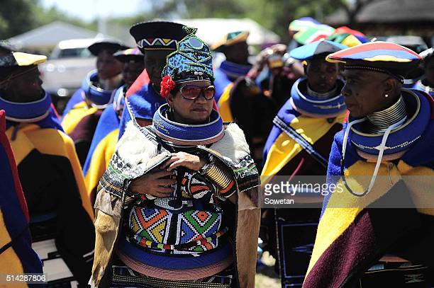 Ndebele women in their traditional attire during the 36th annual commemoration of King Silamba on March 05, 2016 in Pretoria, South Africa. King...