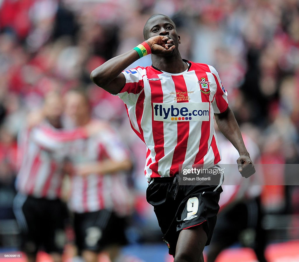 Ndiaye Papa Waigo of Southampton celebrates after scoring during the Johnstone's Paint Trophy Final between Southampton and Carlisle United at Wembley Stadium on March 28, 2010 in London, England.