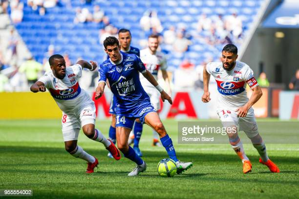 Ndombele Alvaro Tanguy of Lyon Bellugou Francois of Troyes and Fekir Nabil of Lyon during the Ligue 1 match between Olympique Lyonnais and Troyes AC...
