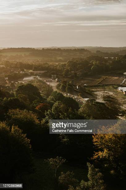ndustrial area with a tree lined road, factories and haulage trucks pass through - falls road stock pictures, royalty-free photos & images