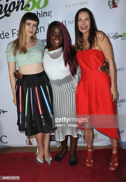 Nea Dune Nimi Adokiye and Jon Mack arrive for the Global Launch Of Fashion88 held at Pol' Atteu Haute Couture on April 14 2018 in Beverly Hills...