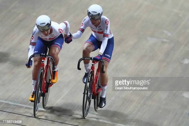 Neah Evans and Katie Archibald of Great Britain compete in Women's Madison the on day four of the UCI Track Cycling World Championships held in the...