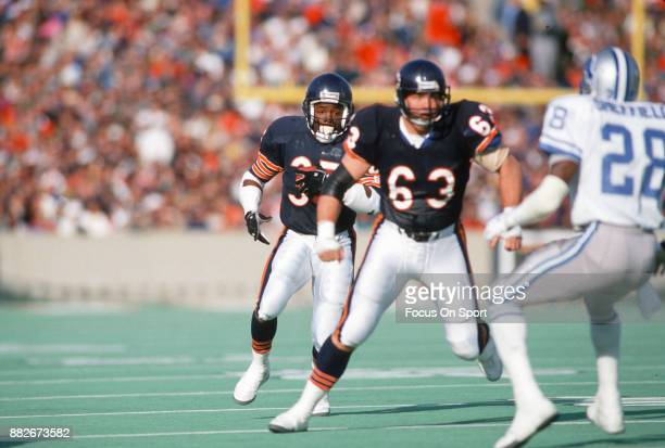 Neal Anderson of the Chicago Bears carries the ball against the Detroit Lions during an NFL football game circa 1986 at Soldier Field in Chicago...
