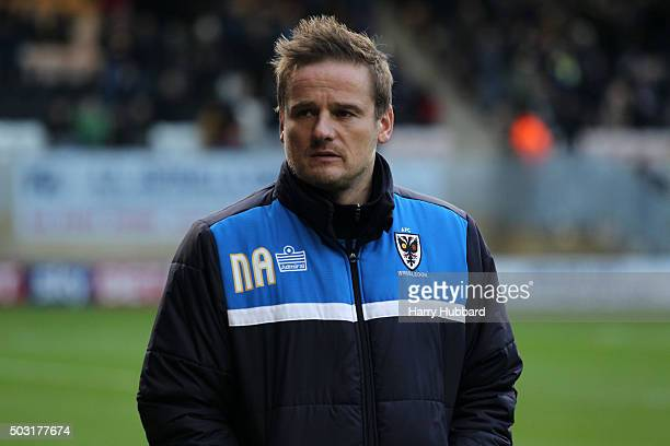 Neal Ardley Manager of AFC Wimbledon before the Sky Bet League Two match between Cambridge United and AFC Wimbledon at Abbey Stadium on January 2...