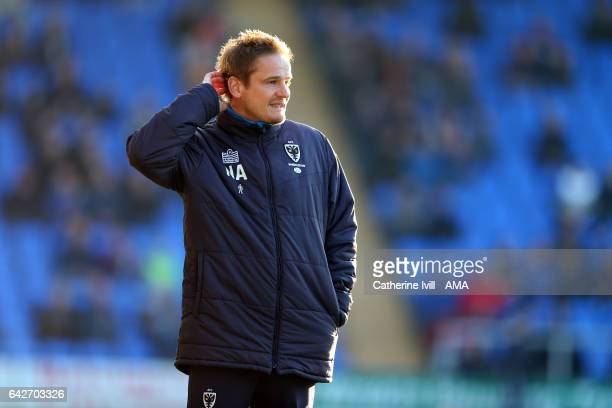 Neal Ardley manager of AFC Wimbledon during the Sky Bet League One match between Shrewsbury Town and AFC Wimbledon at New Meadow on February 18 2017...