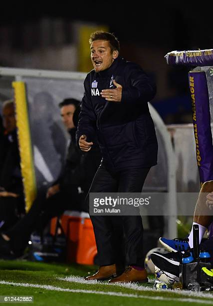 Neal Ardley Manager of AFC Wimbledon reacts during the EFL Checkatrade Trophy match between AFC Wimbledon and Plymouth Argyle at The Cherry Red...