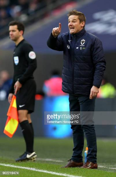 Neal Ardley Manager of AFC Wimbledon reacts during The Emirates FA Cup Third Round match between Tottenham Hotspur and AFC Wimbledon at Wembley...