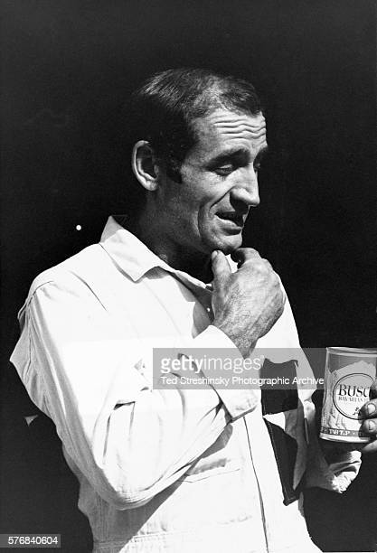Neal Cassady who was the basis for the hero of Jack Kerouac's On the Road Dean Moriarty and later one of the Merry Pranksters holds a can of beer San...