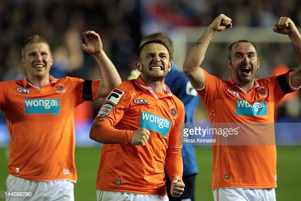 Neal Eardley of Blackpool celebrates after the npower Championship Playoff Semi Final 2nd Leg between the Birmingham City and Blackpool at St Andrews...