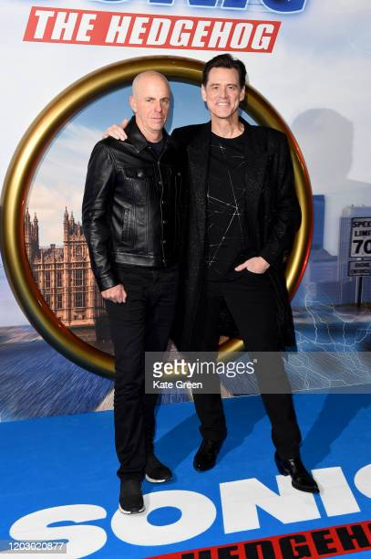 """Neal H. Moritz and Jim Carrey attends the """"Sonic The Hedgehog"""" Gala Screening at Vue Westfield on January 30, 2020 in London, England."""