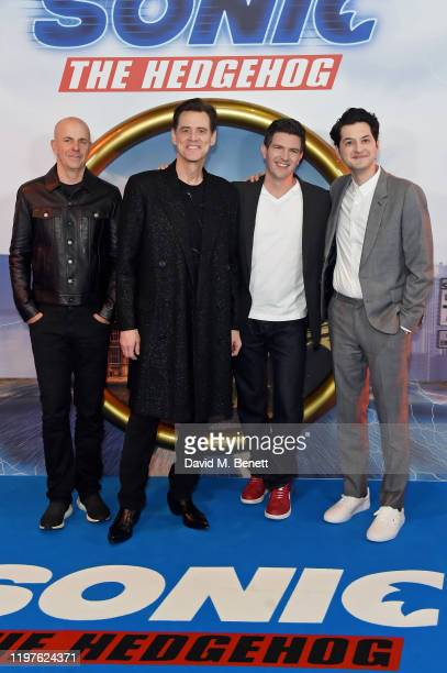 Neal H Moritz Jim Carrey Jeff Fowler and Ben Schwartz attend the Gala Screening for Sonic The Hedgehog at Vue Westfield on January 30 2020 in London...