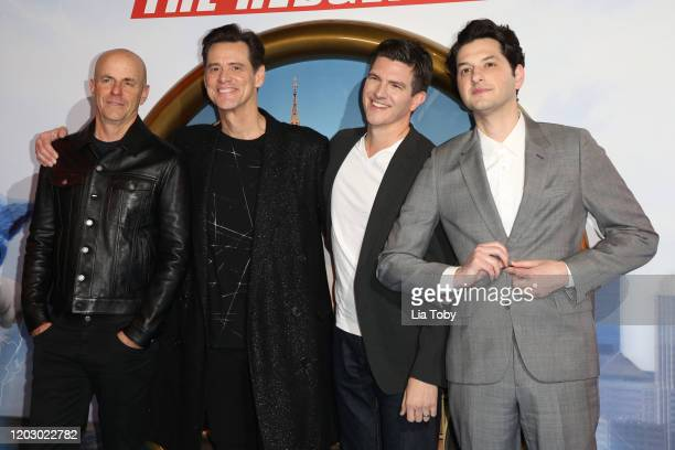 Neal H Moritz Jim Carrey Jeff Fowler and Ben Schwartz attend the Sonic The Hedgehog Gala Screening at Vue Westfield on January 30 2020 in London...