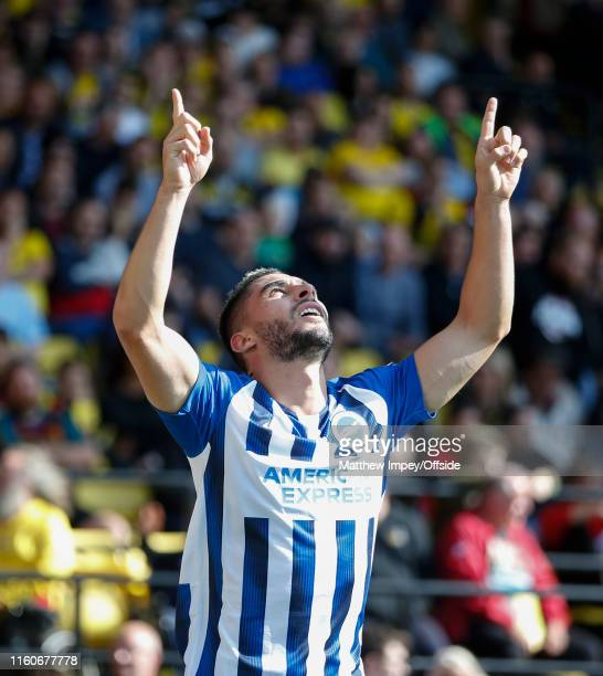 Neal Maupay celebrates scoring the 3rd Brighton goal during the Premier League match between Watford FC and Brighton & Hove Albion at Vicarage Road...